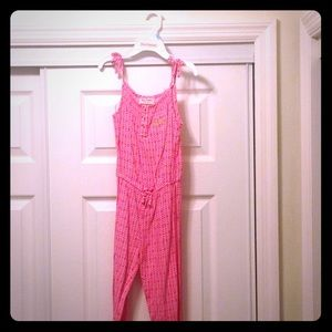 Juicy Couture pink & white geometric jumpsuit